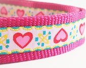 Pink Hearts - Dog Collar / Handmade / Adjustable / Pet Accessories / Pet Lover / Valentine's Day / Large Dog