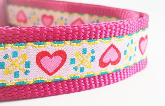 Pink Hearts - Dog Collar / Handmade / Adjustable / Pet Accessories / Pet Lover / Valentine's Day / Large Dog