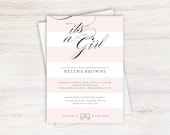 It's a Girl Pink and White Striped Elegant Baby Shower Invitation