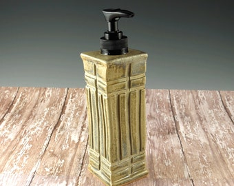 Ceramic Pottery Kitchen Soap Dispenser - Mission Style Pottery - Liquid Pump - Bathroom Soap Pump - Aged Green - 854