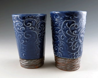 Handmade 10 oz Tumblers Ceramic Pottery with Sapphire Blue with Chocolate Brown Trim - Set of Two (2) Porcelain Cups - by Botanic2Ceramic