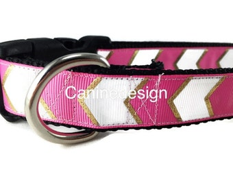 Dog Collar, Pink Chevron, 1 inch wide, adjustable, quick release, metal buckle, chain, martingale, hybrid, nylon