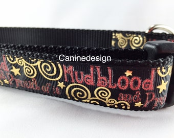 Dog Collar, Harry Potter, Mudblood 1 inch wide, adjustable, quick release, metal buckle, chain, martingale, hybrid, nylon
