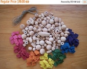 ON SALE SALE Clearance - Rainbow Jewelry Making Kit, Diy Jewelry Kit, All Natural Wooden Beads, Hemp String, Plant Dyed Wool Felt