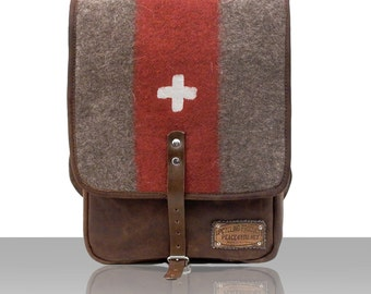 Small Crossbody Satchel, Messenger Bag, Canvas Bag, Notebook Bag, Recycled Swiss Cross Army Blanket, Cotton Tent / Upcycled in GERMANY- 2163