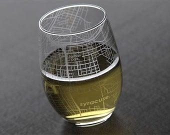 Syracuse - Syracuse University - College Town Map Stemless Wine Glass