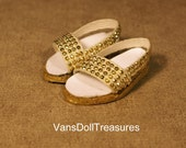 Dasia Shoes Gold Button Slip Ons