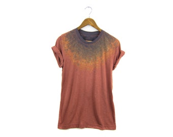 "The Original ""Splash Dyed"" Hand PAINTED Crew Neck Pinned Rolled Cuffs Boyfriend Fit Tee in Vintage Rust Patina - Women's M-4XL"