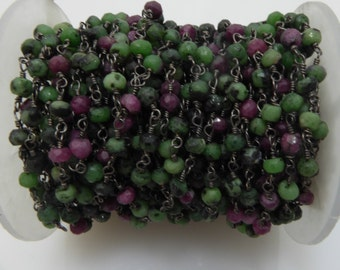 ruby zoisite rosary chain