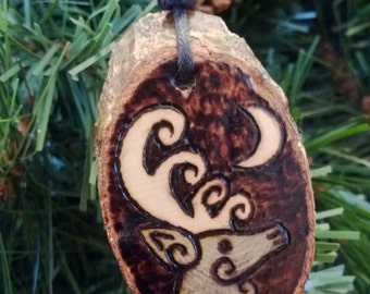 Stag and Moon Wood Pendant Necklace