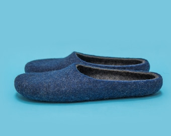 "Smoky Blue"" Hand felted wool slippers by Onstail in women's size EU 39,5"