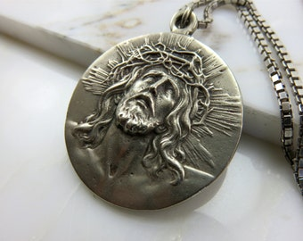 20% off Sale! Vintage Christ and Virgin of Guadalupe Silver Medallion