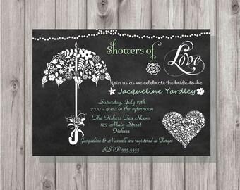 Digital Chalkboard Umbrella Mint Showers of Love Bridal Couples Shower Invitation Personalized Printable