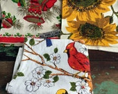 Vintage lot 3 PARISIAN PRINTS Linen Towels Sunflower,Birds, Christmas Bell 1 NWT