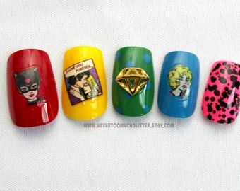 Retro Comic Fake Nails,Japanese Nail Art, Comic Book Press On Nails, Graphic Novel, Comic, Pop Art, Retro, Geek, Pulp Fiction, False Nails