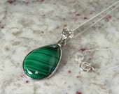 Malachite Teardrop Pendant Necklace in Sterling Silver Setting and Openwork Bail on .925 Sterling Silver Chain