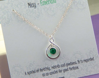 May Birthstone Necklace, Personalized infinity necklace, emerald, birthstone jewelry, gift boxed necklace