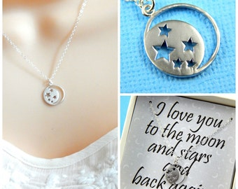 I Love you to the moon and Stars necklace, charm necklace, gift boxed necklace, friendship necklace