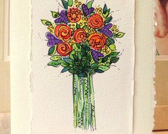 "Long Stem Flowers  Watercolor Original ""Big Card"" 5x7 With Matching Envelope Blank Inside  betrueoriginals"