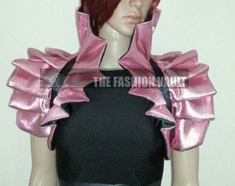 Anime Cosplay Barbie High Drama Collar Bolero Shrug PINK BLACK Satin