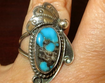 Native American Blue Turquoise Ring Sterling Silver Size 7