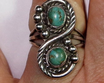 Native American Double Blue Turquoise Ring Sterling Silver Size 6