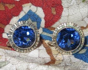 Scandinavian Blue Stone 830S Silver Earrings Screw On Backs