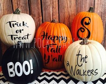 pumpkin decals pumpkin stickers personalized pumpkin decals pumpkin decorations halloween decorations - Personalized Halloween Decorations