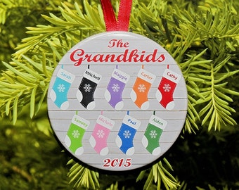 Christmas Stocking Grandchildren Ornament  - customized with names and year - up to 9 names - C099 Grandkids Grandparent Gift