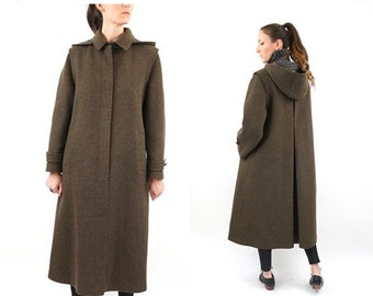 FLASH SALE vintage OLIVE green Minimalist wool Long trench M