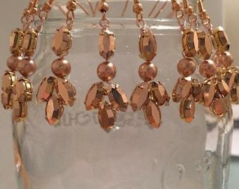 Bridal chandelier earrings rose gold drop wedding earrings earings boho rustic bridal jewelry jewellery