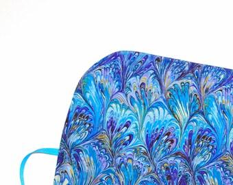 Crochet Hook Organizer  DPN Storage Case Marbled Paper Peacock gift for knitter artist hooker Quiltsy Handmade