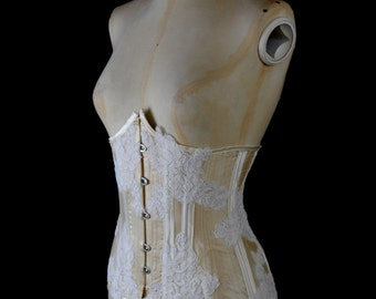Silk Satin Ivory Lace Under Bust Bridal Corset - Small / Medium FREE SHIPPING WORLDWIDE
