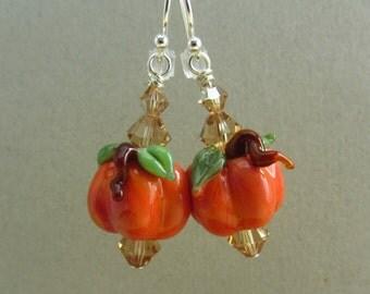 Pumpkin Earrings - Handmade Lampwork Bead Art - SRA