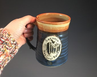 Wheel Thrown Sequoia National Park Mug in Croc Blue and Shino (tan brown) Glazes