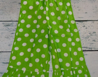 3T Lime Dot Ruffle Pants - CLEARANCE And Ready To Ship