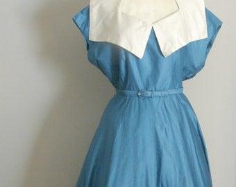 1950s  Bibbed  Day Dress