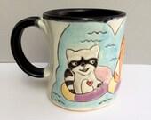 """RESERVED FOR SCHNOOFUS Animal Mug, Large, with Raccoon, Fox, and Rabbit, Big Coffee Mug, Big Tea Mug, Animal Pottery """"Tubing With Frenemies"""""""
