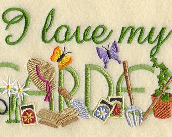 I LOVE MY GARDEN on Ladies' Tee or Sweat by Rosemary