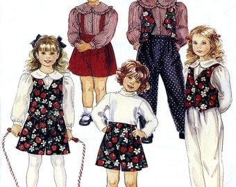 McCall's 7795  Childrens Girls Blouse, Lined Vest, Pull On Pants or Short  Size 4-5-6  Uncut New