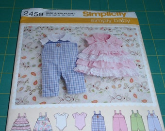 Simplicity 2459 Pattern Babies Romper in Two Lengths, Jumper and Knit Bodysuit Size XXS - L  New - Uncut