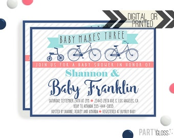 Bicycle Baby Shower Invitation | Digital or Printed |  Bicycle Baby Shower | Bike Invitation |  Baby Makes Three | Vintage Bicycle Shower
