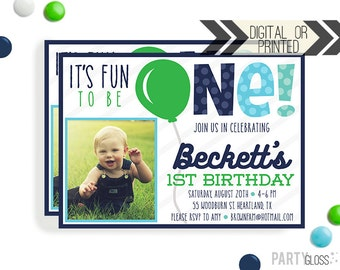 Balloon Birthday Invitation | Digital or Printed | Boy Balloon Party | Green Balloon Invite |  Blue Balloon Invite | Modern Invitation | 1st
