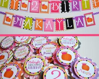 Pumpkin Patch Princess Birthday Party Decorations Fully Assembled | Pumpkin Princess | Pink Green Orange Purple | Girly Pumpkin Patch |
