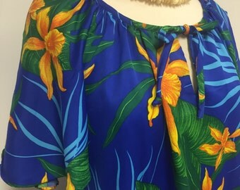 Vintage Hio Hatties Hawaii Dress - Midi Tropical Dress - Island Dress - Plus Size - Resort Dress - Swim cover - Beach Dress- 48 Bust