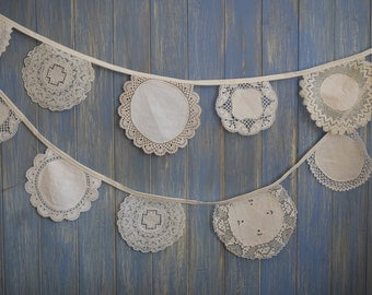 Vintage doily Bunting. Wedding Bunting. A beautiful 3m strand made out of gorgeous doilies.