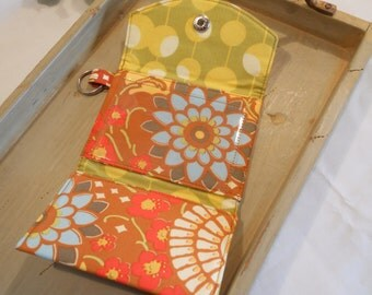 """Cash and Credit Card KeyChain Carry-All in """"Geisha Fans"""" from Amy Butler's Lotus Collection"""