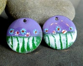 Floral Enameled Copper Earring Charms, Torch Fired Enamel, Purple Pink Green Earring Pair, Sgraffito, 25 mm Circle Pendants, Pastel Beads