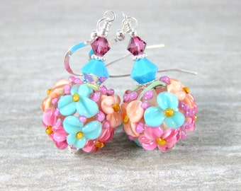 Colorful Pastel Round Floral Dangle Earrings Pink Peach Teal Pink Glass Drop Earrings Botanical Nature Jewelry Flowers Cottage Chic Lampwork