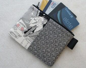 The Ghastlies Coin Purse Wallet Business Card  Zippered Credit Card Case Alexander Henry Ghastlie Fabric Gaspar A Ghastlie Night